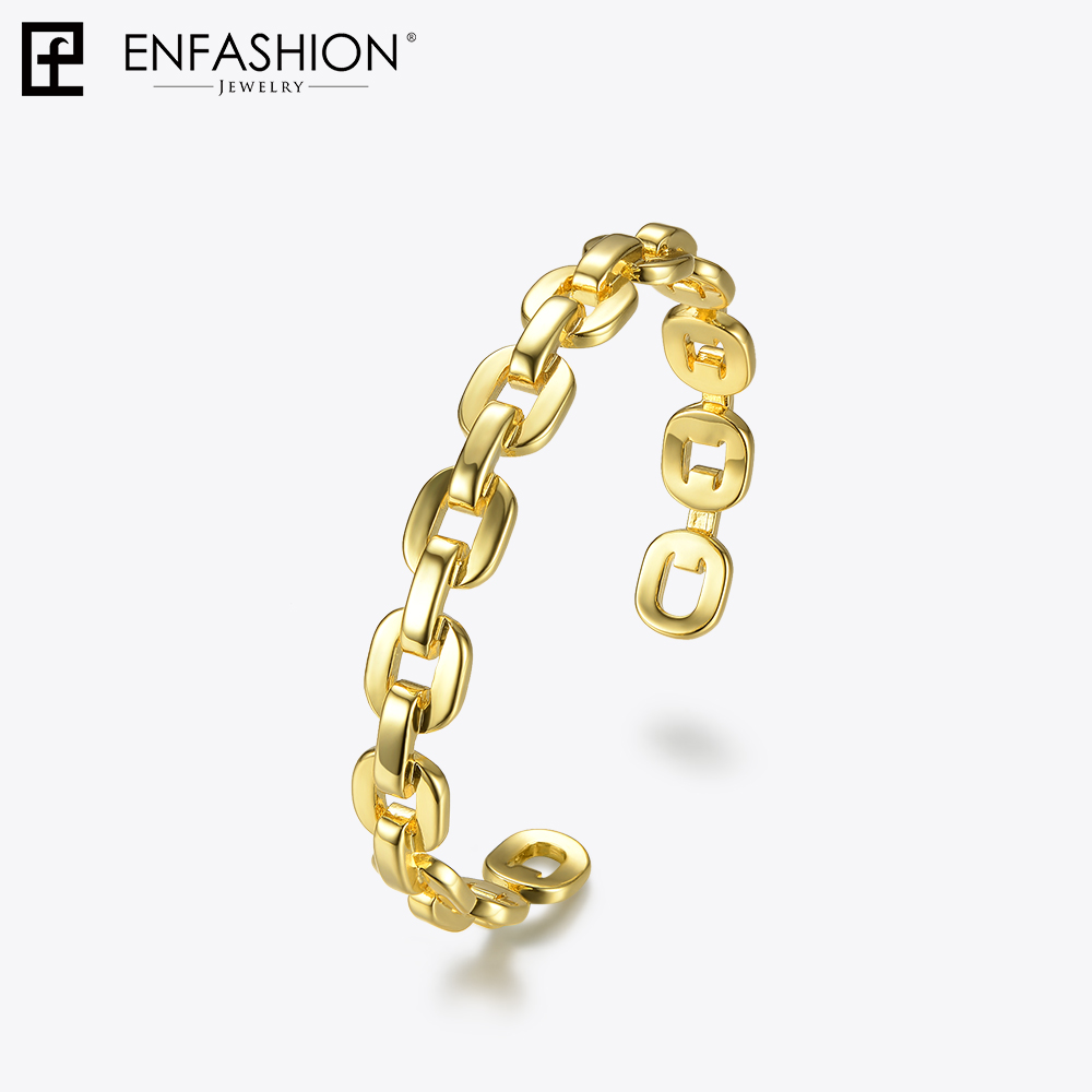Enfashion Pure Form Small Link Chain Cuff Bracelets Gold Color Copper Bangles For Women Accessories Jewelry Bijoux BF182032 gold open cuff bracelets for women bijoux jewelry