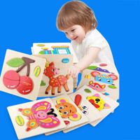 Hot Sale 9 Pcs Lot Child Early Training Game Three Dimensional Colorful Wooden Puzzle Educational Toys