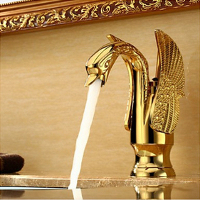 Hot Sales Swan Gold Ti-PVD Brass 2 Wings Bathroom Vanity Sink / Basin Torneira Banheiro Cozinha Faucets Mixers Taps (UP-4001)
