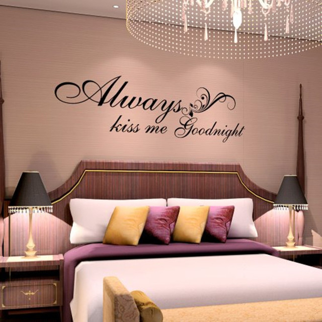 X009 Vinyl Wall Quote   Always Kiss Me Goodnight   Wall Saying Valentine  Love Quote Decal