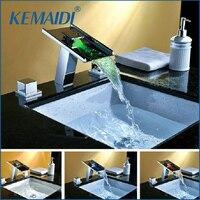 KEMAIDI New 3 CÁI Bộ Sàn Mounted LED Thác Spout vòi, Vòi Mixer Điện Nước LED Mixer Bath Vòi Bồn Tắm Vòi b