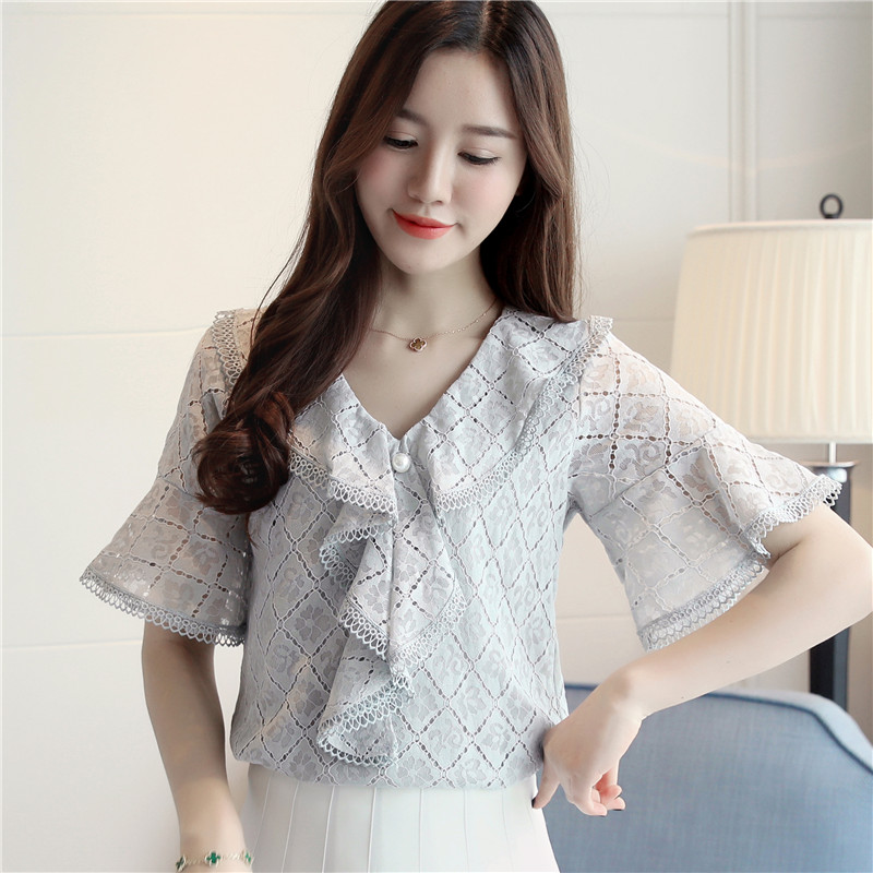 Crochet Basic Women's Blouses Plus Size 2XL 2018 New Spring Summer Lace Women Black&White Shirt Female Sweet Ladies Tops T82305L 1