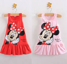 Red/Pink Baby Girls Cute Mouse Dress Kids Cartoon Tops Clothes Party Dresses(China)