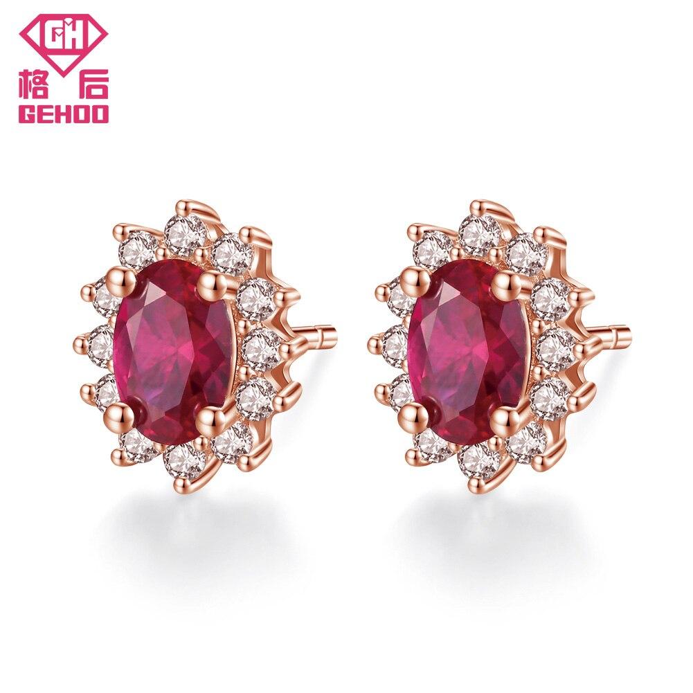 GEHOO Oval Red Pretty Garnet CZ Zircon Paved Real 925 Sterling Silver Wedding Jewelry Retro Earrings Women Mom Gift Brincos