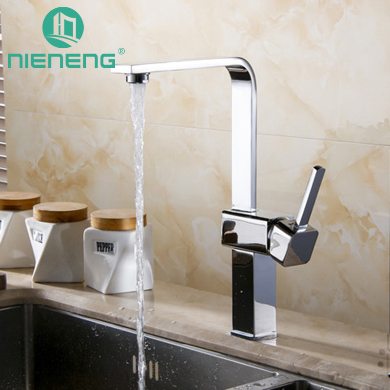 Nieneng Kitchen Faucet Deck Mounted Chrome Polished Kitchen Sink Basin Faucets Hot and Cold Water Swivel Mixer Taps ICD60404 nieneng big discount basin washroom mixer bathroom faucet tap mixers wc sanitary ware water toilet taps polished chrome icd60157