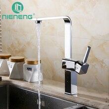 Nieneng кухонный кран на бортике Chrome полированная Кухонная мойка бассейна Смесители горячей и холодной воды Поворотный смесители ICD60404