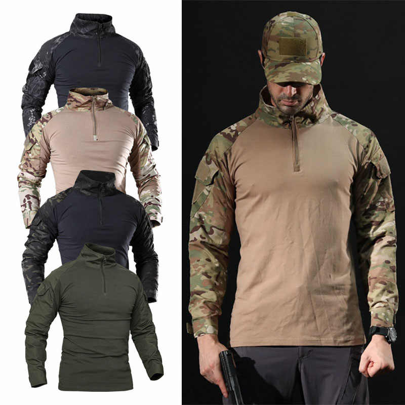 Mannen Outdoor Tactische Jacht T-shirt Combat Shirt Airsoft Paintball Tactische Militaire Leger Shirts Uniform Wandelen Jacht Shirt