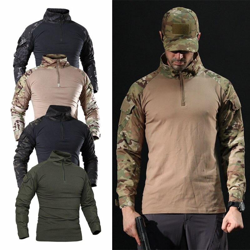 Uomini Outdoor Tactical Caccia Combattimento Shirt T-shirt Di Paintball Del Airsoft Tattico Militare Dell'esercito Camicette Uniforme Da Trekking Caccia Shirt In Vendita