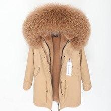 Женская куртка из натуральной овчины с меховым воротником, повседневная утепленная Длинная зимняя парка