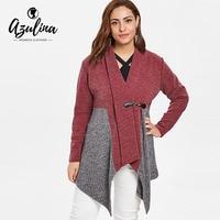 AZULINA Plus Size Shawl Collar Spliced Cardigan Women Sweater Fall Shawl Collar Long Sleeve Patchwork Sweaters Female Cardigans