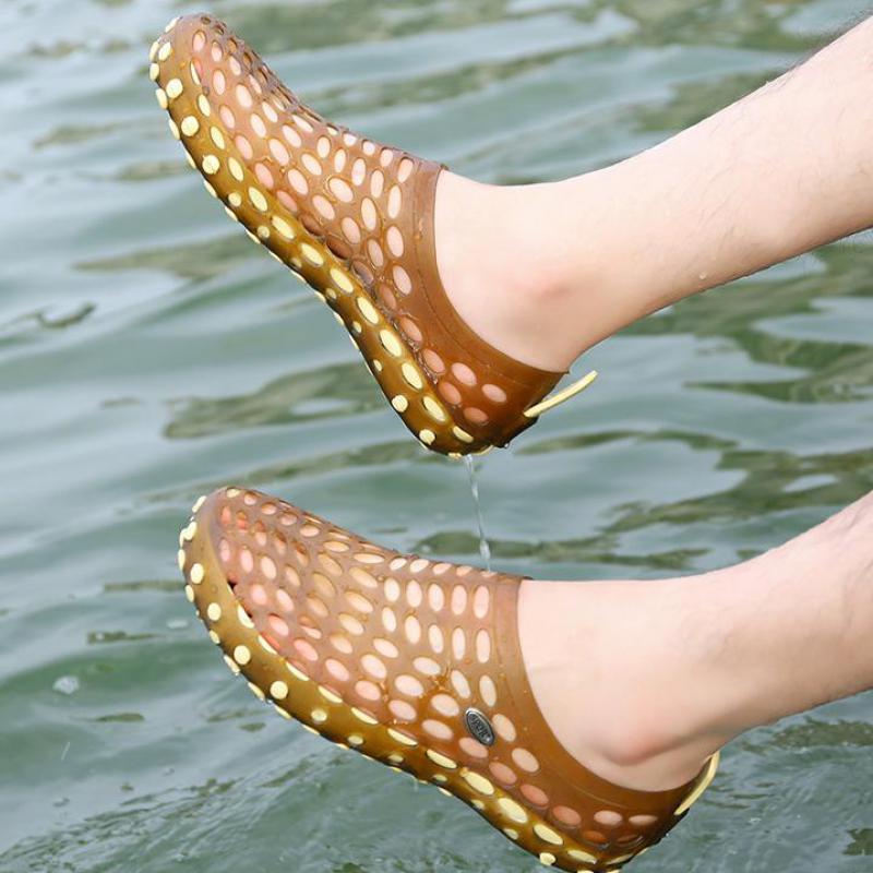 2018 забивают обувь для Для мужчин быстрое высыхание летние сандалии для пляжа плоские дышащие сандалии для прогулок мужские полые плоские п...
