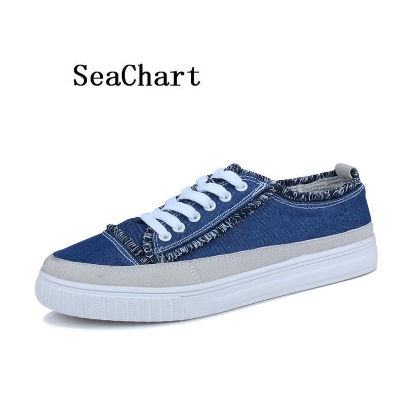Prix pour SeaChart Hommes Planche À Roulettes de Chaussures Streety hommes sport Sneakers En Plein Air Zapatos Hombre Denim Jean Glands Couture Hommes Chaussures Nouveau