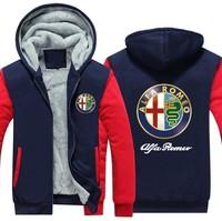 European and American New ALFA ROMEO Logo Fashion Plus Velvet Thickened Zipper Hoodie Winter Jacket Men Hoodies Sweatshirts