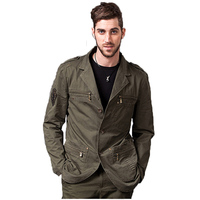 Men's Army Spring/Autumn Jacket Slim Fashion Work Jacket With Casual Slim Solid Color Style Military Badges Sportswear Clothes
