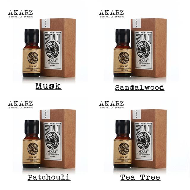 Famosa marca 100% Pure Musk AKARZ Pacote de Óleos Essenciais Para Aromaterapia Sândalo Patchouli da árvore do Chá, massagem, Spa, banho 10 ml * 4