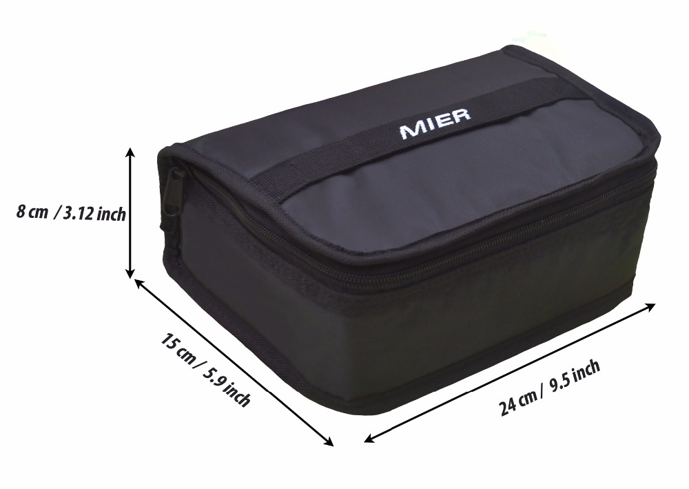 MIER Portable Thermal Insulated Cooler Bag Mini Lunch Bag for Kids, Black & Orange