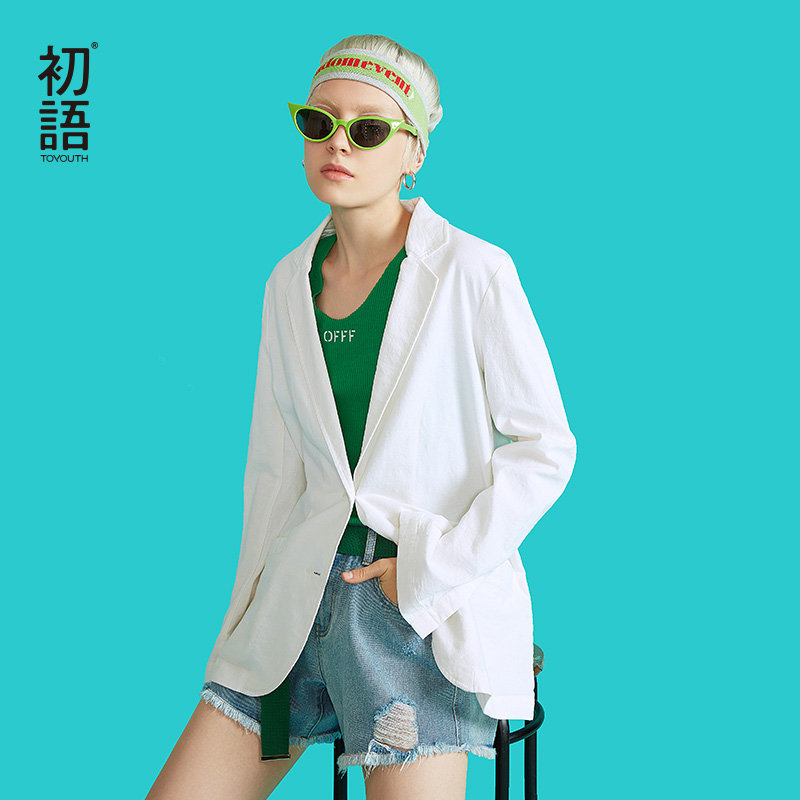 Toyouth New Autumn Chic Korean White Blazer Feminino Casual Long Sleeve Office Ladies Coats Plus Size