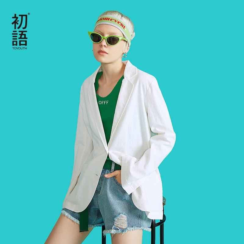 Toyouth New Autumn Chic Korean White Blazer Feminino Casual Long Sleeve Office Ladies Coats Plus Size Workwear Women Jackets