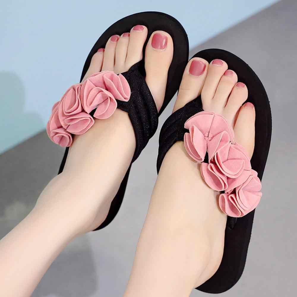 Moda verão Flor Clipe Toe Flip Flops Não-Deslizamento das Mulheres Chinelos Cunhas de Praia