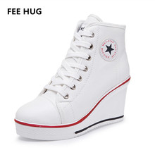 2016 woman wedges high lacing casual elevator shoes female canvas shoes high top wedge boots women casual shoes