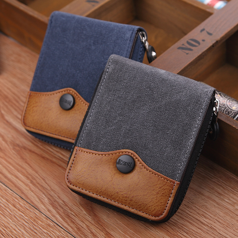 High Quality Cowboy Canvas Men Wallet Large Capacity Man Short Wallets Vintage Purses with Coin Pocket Zipper Coin Purse moana maui high quality pu short wallet purse with button