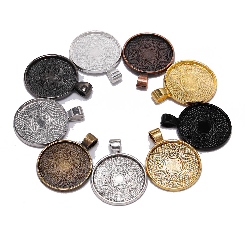 10pcs/lot 25 Mm Cabochon Base Tray Bezels Blank Silver Gold Necklace Pendant Setting Cabochon Base For Jewelry Making Supplies