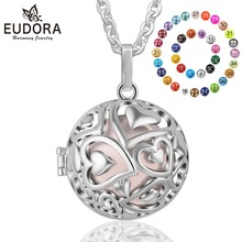 Eudora 20mm Harmony Ball Pendant Necklace Heart Round Locket Cage fit 20/18mm Musical Sound Chime Ball for Pregnant Women K292