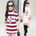 's T Children - shirt 2016 new girls winter in the big children cartoon long sleeved - shirt
