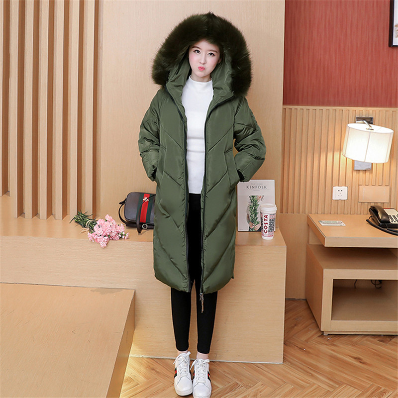 5XL 2018 Cotton Clothing Female Plus Size Down Cotton Long Section Large Fur Collar   Parka   Jacket Hooded Winter Women Coat A1572