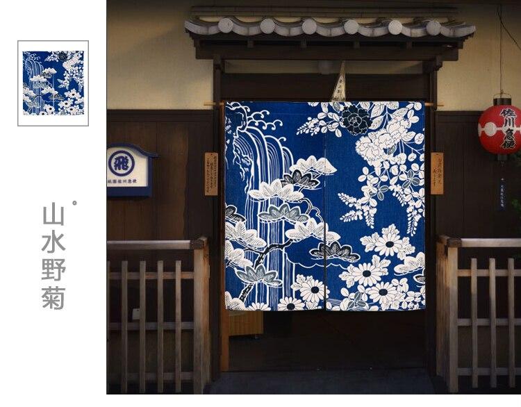 Japanese Noren Flower Landscape Chrysanthemum Indicum Thicken Door Curtain  Japan Portiere Hangings Door For Living Room