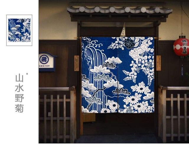 Gordijn Voor Deur : Japanse noren bloem landschap chrysant indicum thicken deur
