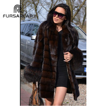 FURSARCAR 2018 New Natural Real Mink Fur Coat Women With Racoon Cuff O-Neck Female Winter Luxury