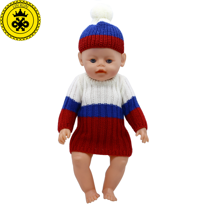 Baby Born Doll Clothes Woolen Hand-woven Long Dress + Hat Fit 43cm Zapf Baby Born Doll Accessories Birthday Gifts 358 meired grid jumpsuit hat wear fit 43cm baby born zapf children best birthday gift only sell clothes