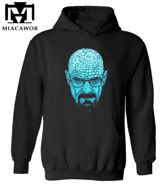 Top quality MEN heisenberg print cotton blend hoodies Breaking bad print men sweatshirt with hat 2017