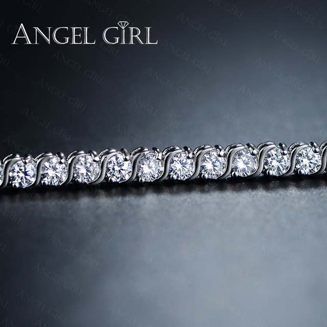 Angel Girl AAA+ Round Cubic Zirconia Tennis Bracelet for woman bracelets&bangles  for women plated bracelet manchette femme 3