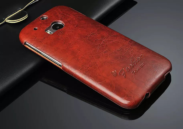 2015 Oil-wax 100% Genuine Leather Vertical Flip Cover Case for HTC One M8 Top Quality Fashion Brand Original Exquisite Phone Bag