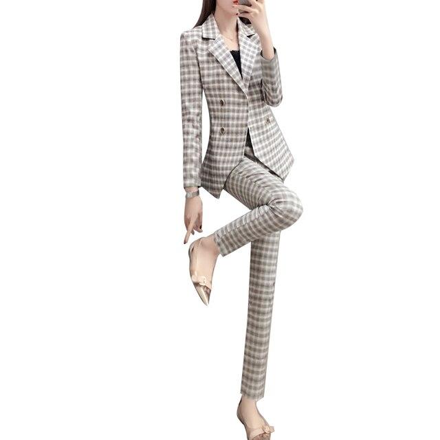 3865579fbe96 Женский деловой костюм в клетку, модный костюм, женский деловой костюм,  куртка, секционный