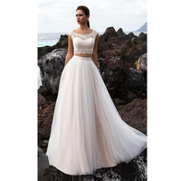 Free Shipping Beach Bride Dress Boho Wedding Dress 2 Pieces A Line Appliques Lace Tulle Skirt Wedding Gown