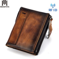 Super Quality Handmade Man Wallet Short Women Credit Card Purse Genuine Leather Card Holders Driver Licence EDC Zipper Clutch