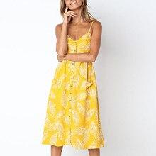 2019 Summer Dress Yellow Plus Size Elegant Button Women Casual Beach Dress Cute Floral Print Vestidos De Marca Verano Ropa Mujer