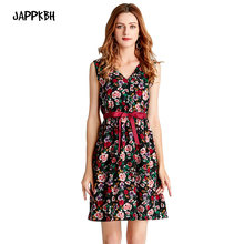 JAPPKBH Summer Dress Women 2019 Casual Elegant Sweet Print Floral V-Neck Ladies Dresses Vintage Slim Beach Party Dress Vestidos(China)