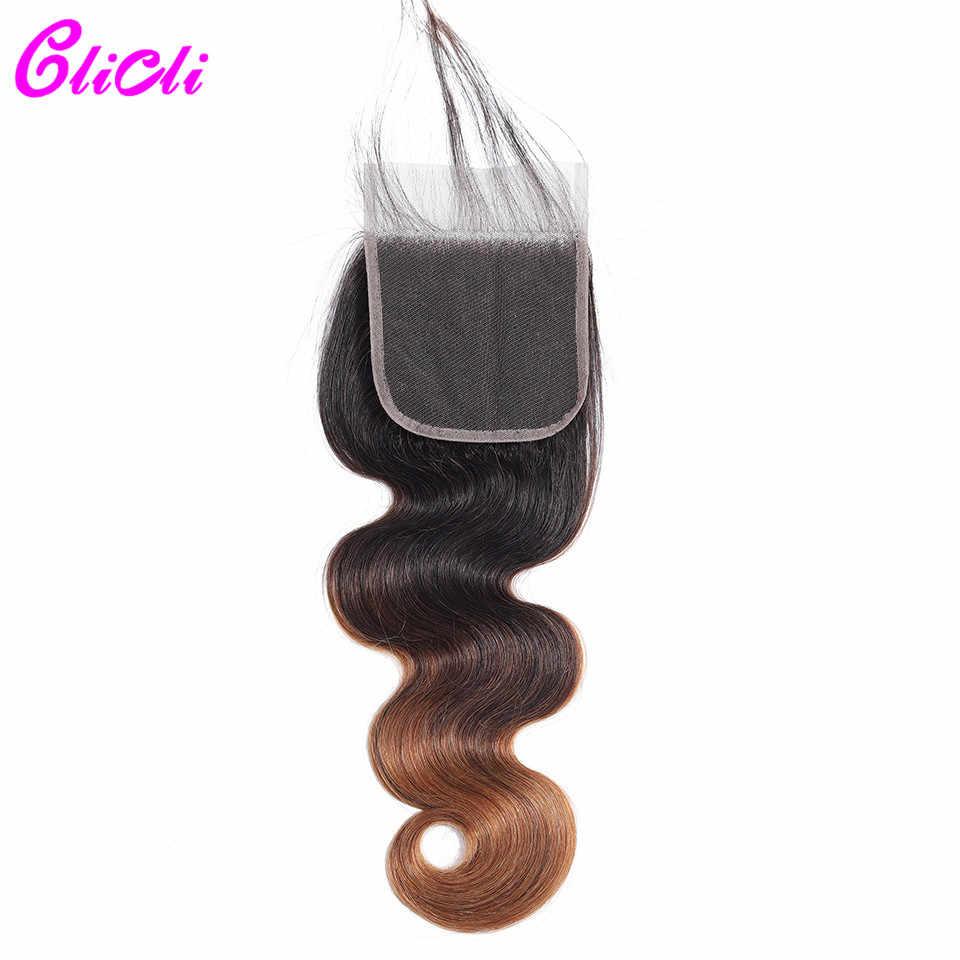 Clicli Ombre Demetleri Kapatma İnsan saç Ile 1b/4/30 Üç Ton omber Brezilyalı Vücut Dalga 3 Demetleri kapatma ile Remy Saç Örgü