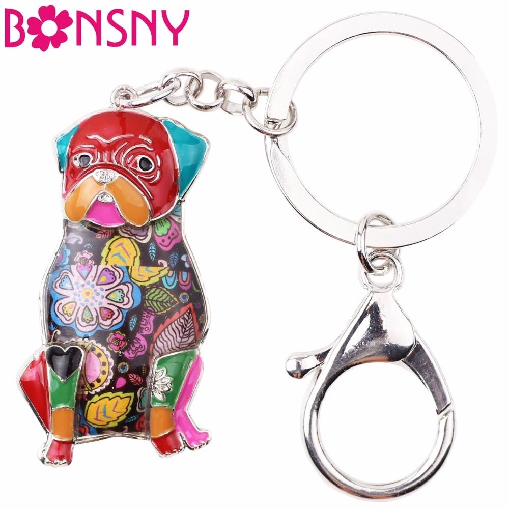 Bonsny Enamel Metal Pug Dog Key Chain Key Ring Jewelry For Women Girl Bag Pendant Charm Car Key Holder 2017 Keychain Accessories lx 4846 universal key ignition ring decorative sticker for car silver