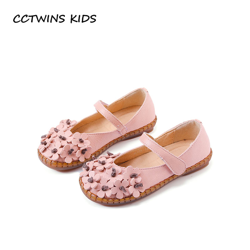CCTWINS KIDS 2018 Spring Baby Girl Fashion Pink Mary Jane Toddler Genuine Leather Shoe Children Princess Party Flat GM1945 wendywu 2017 spring toddler fashion pu leather mary jane baby girl rhinestone princess ballet children heeled shoe black