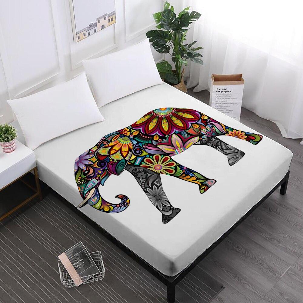 Multi-couleur Éléphant Impression Lit Feuilles Bohême Inde Style Drap housse Animaux Texture Impression Matelas Couverture Home Decor D40