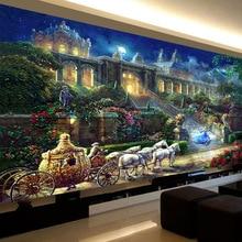 Qianzehui、diy 5Dダイヤモンド刺繍、ラウンドダイヤモンドロマンチックな夢城王女フルダイヤモンド塗装クロスステッチ、針仕事