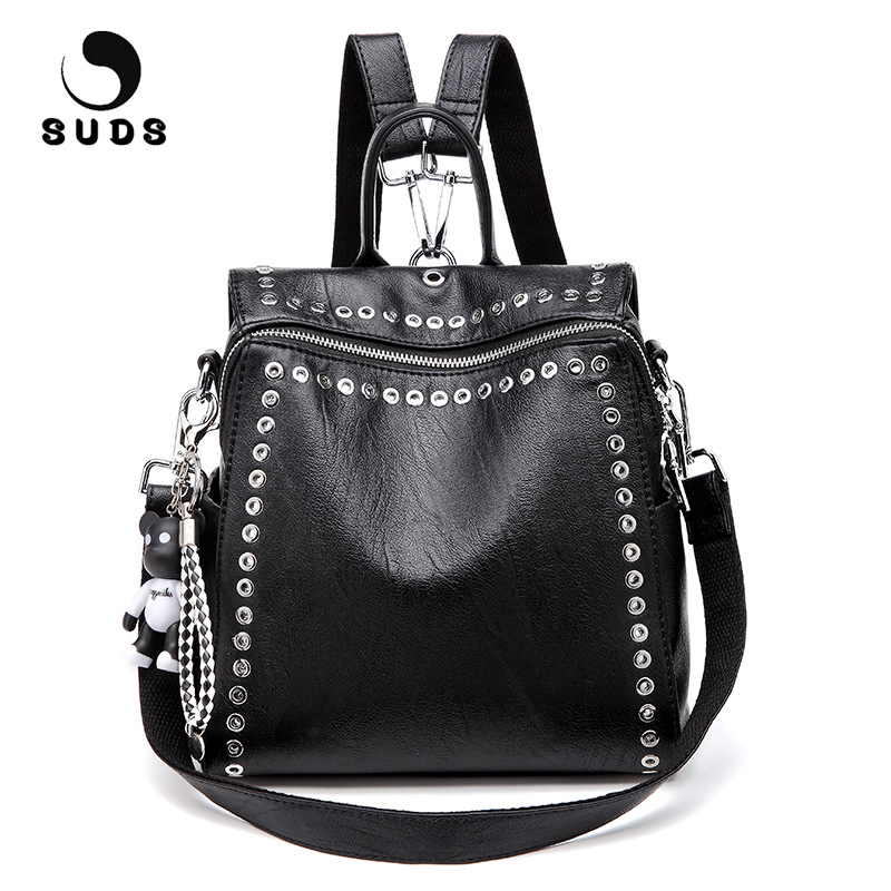 SUDS Brand Women PU Leather Backpack New Fashion Student Rivet School Bags Shoulder Bag Female Traveling Backpack Mochilas Mujer new fashion 2016 good pu leather backpack high quality school bag mens multifunction traveling shoulder bags smb598