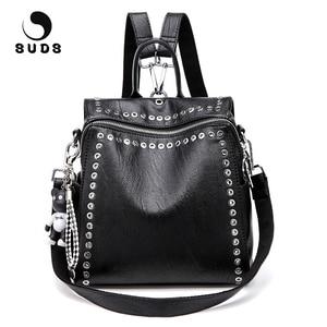 Image 1 - SUDS Brand Women PU Leather Backpack New Fashion Student Rivet School Bags Shoulder Bag Female Traveling Backpack Mochilas Mujer