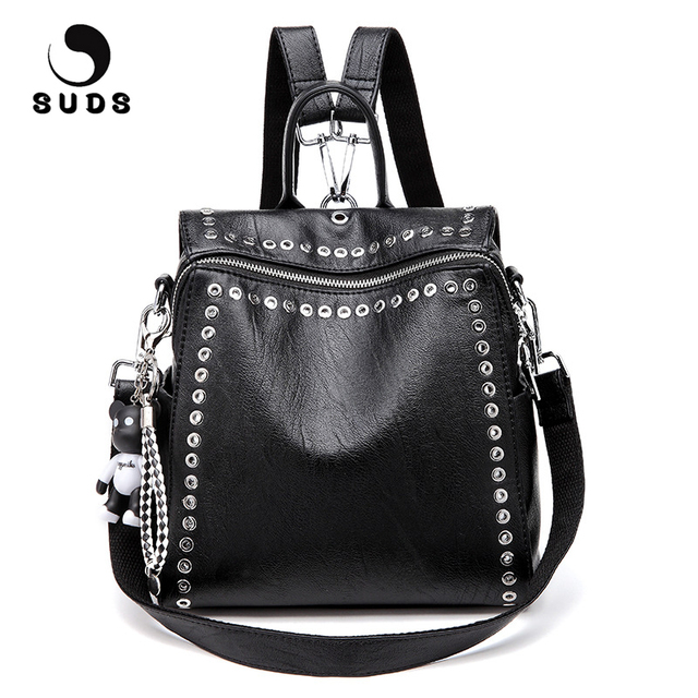 SUDS Brand Women PU Leather Backpack New Fashion Student Rivet School Bags Shoulder Bag Female Traveling Backpack Mochilas Mujer
