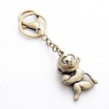 New Cartoon Animal Monkey Charm Vintage Keychain Punk Hand Made Bag Pendant Keyfobs Car Key Chain Ring Holder Friend Gifts FY009